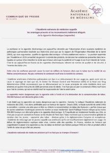communiqué-académie-médecine-vape